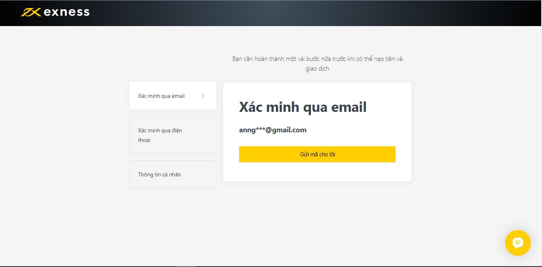 Xác minh tài khoản Exness qua Email