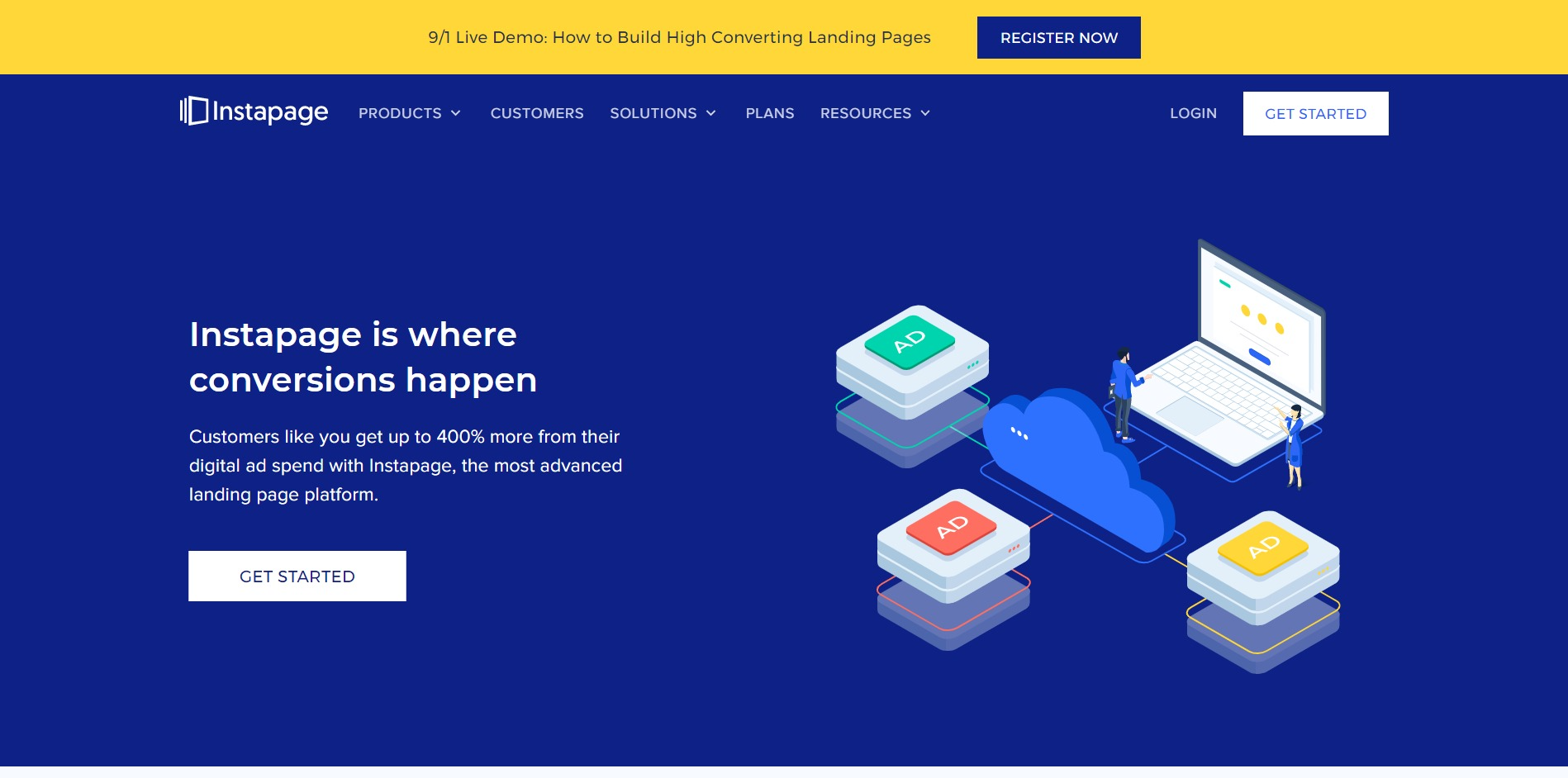 Instapage home page