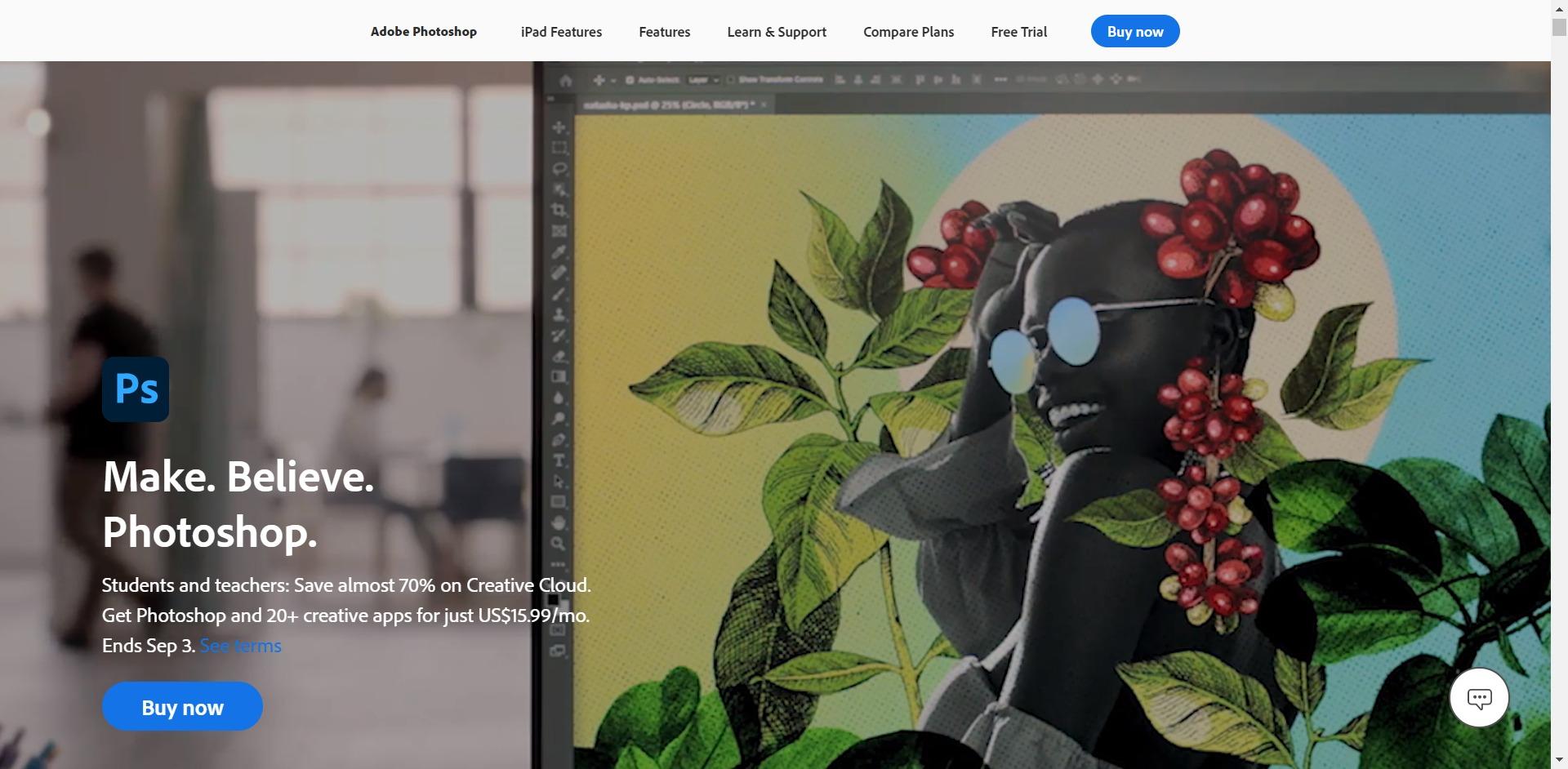 Adobe Photoshop home page