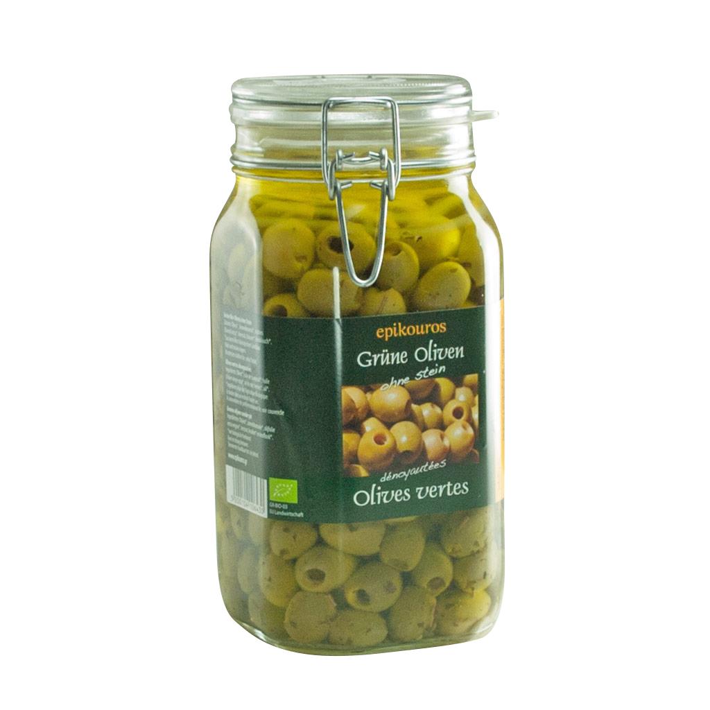 Økologiske RAW upasteuriseret grønne oliven uden sten i olie med urter.