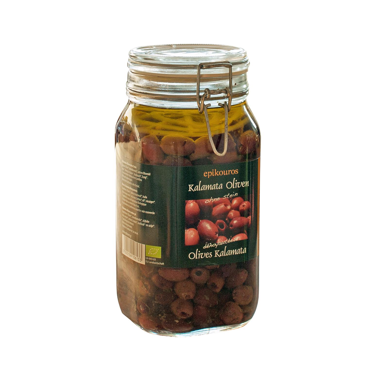 Øko RAW upasteuriseret Kalamata oliven uden sten  i olie med urter.