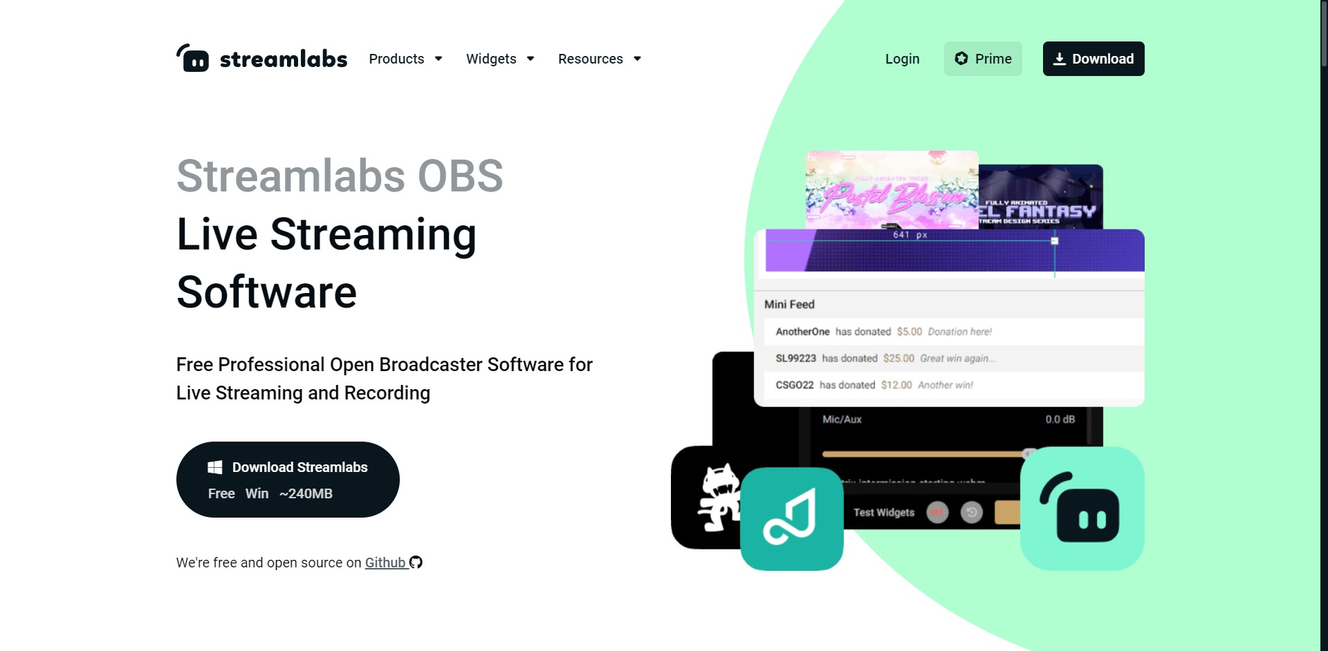 Streamlabs OBS main page