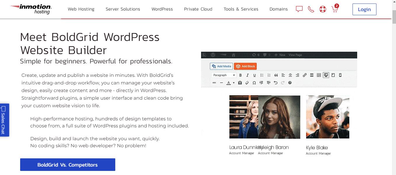 InMotion Hosting WordPress website builder