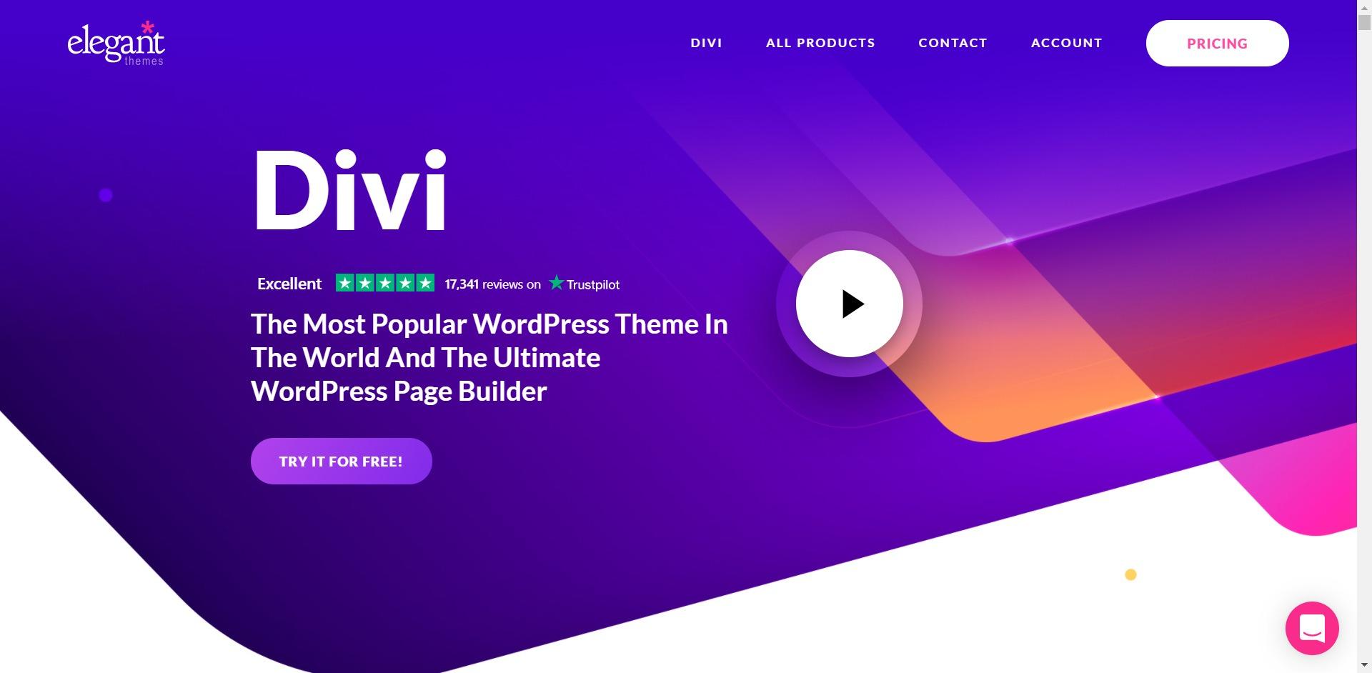 Divi home page