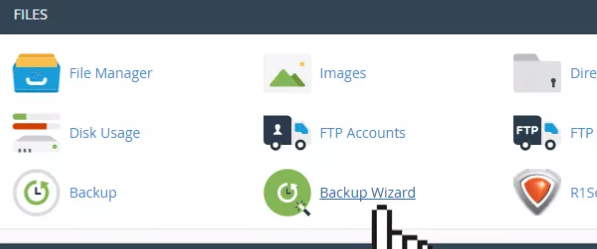 cPanel files options including Backup Wizard