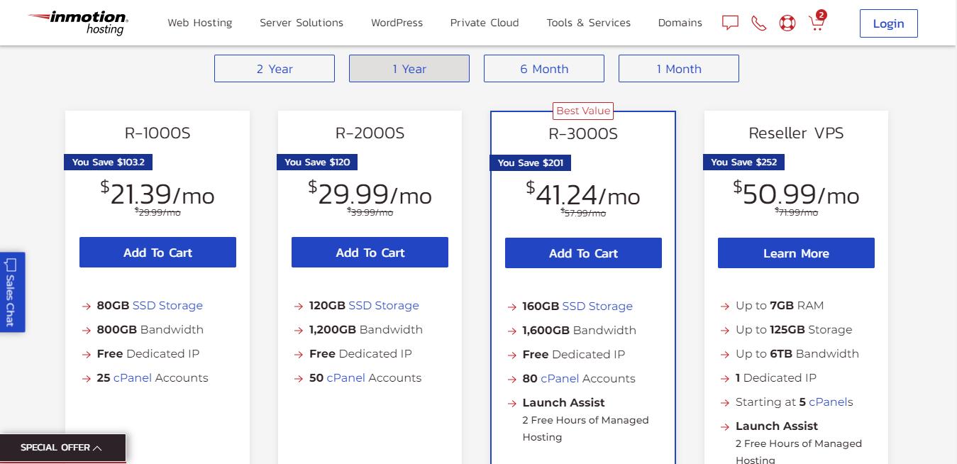InMotion Hosting reseller hosting plans pricing