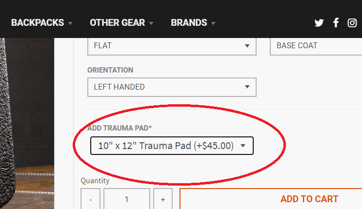 """product purchase page with """"Add Trauma Pad"""" circled in red"""