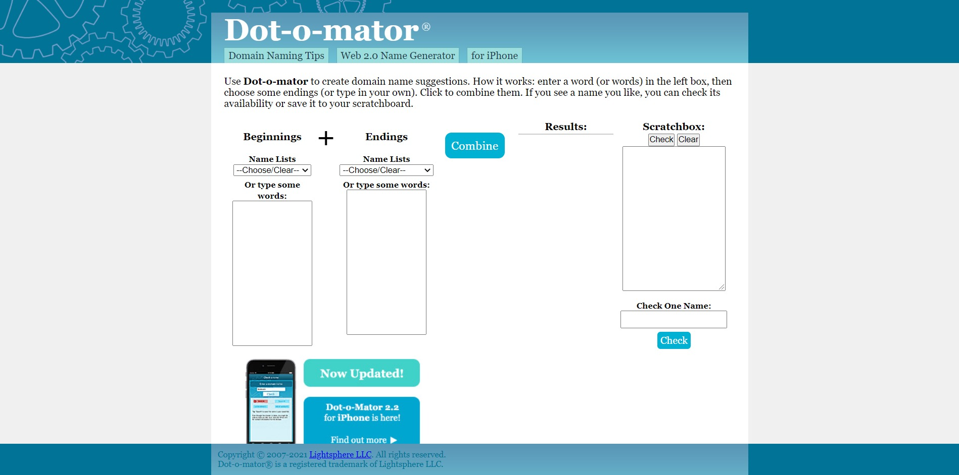 Dot-o-mator Domain Name Generator