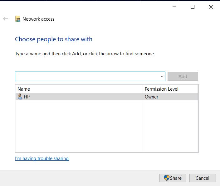 share permissions setting