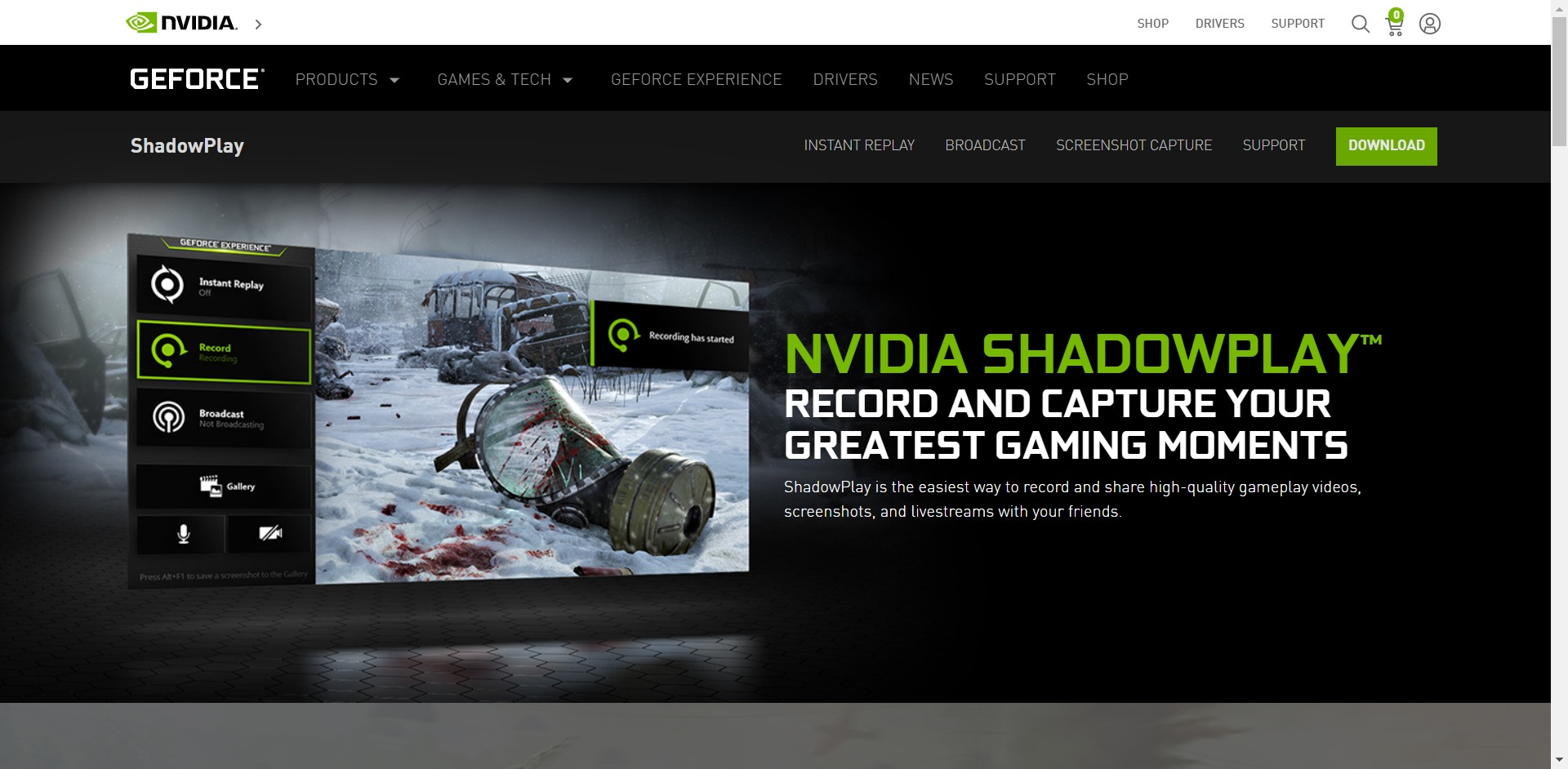 NVIDIA ShadowPlay main page