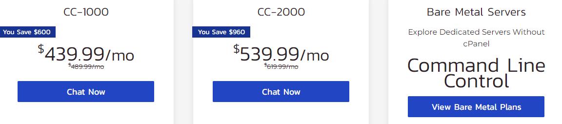 InMotion Hosting dedicated servers plans pricing