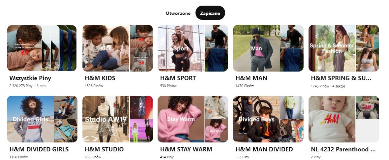 Przykładowe tablice pinteresta, marka H&M