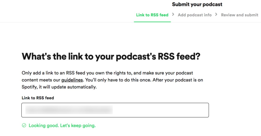 Paste your RSS link in Spotify