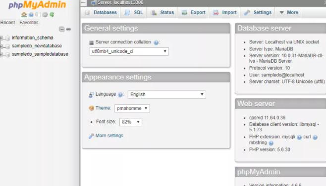 phpMyAdmin main screen
