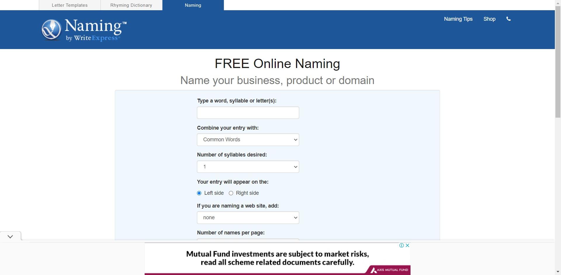 Naming.net Business Name Generator