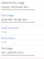 Disk usage screen