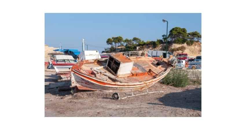 storm damaged boats
