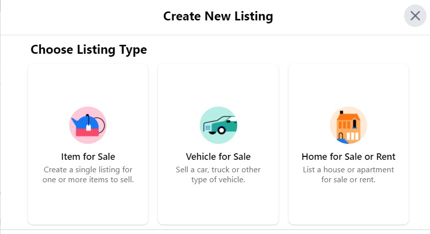 Choose the type of product listing