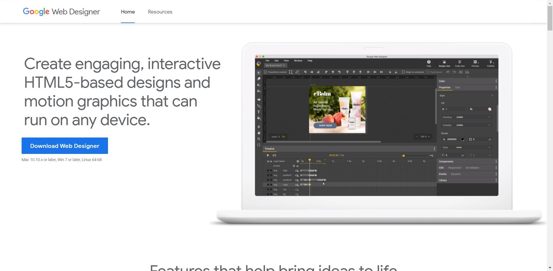 Google Web Designer home page