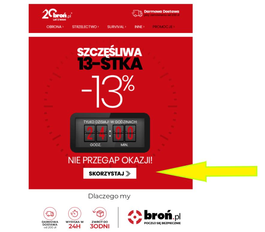 """CTA - przycisk we-mailu """"Skorzystaj"""". Źródło: https://www.bron.pl/"""