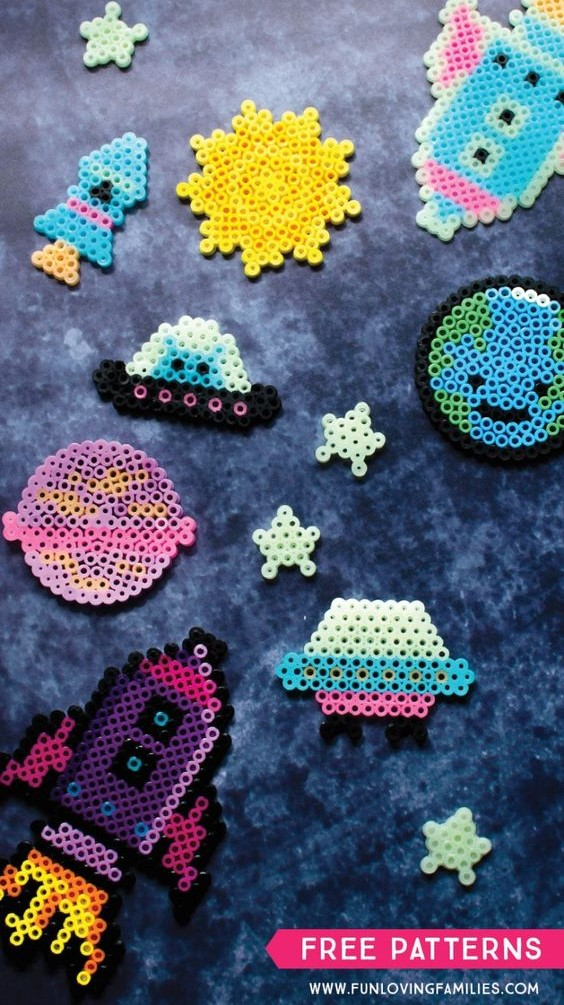fun space shapes use perler beads