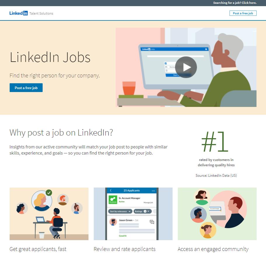 12 ejemplos de landing pages: LinkedIn Jobs