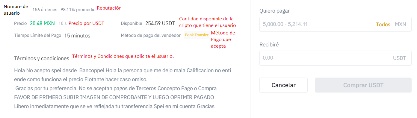 Details that we observe in an offer to buy USDT with MXN