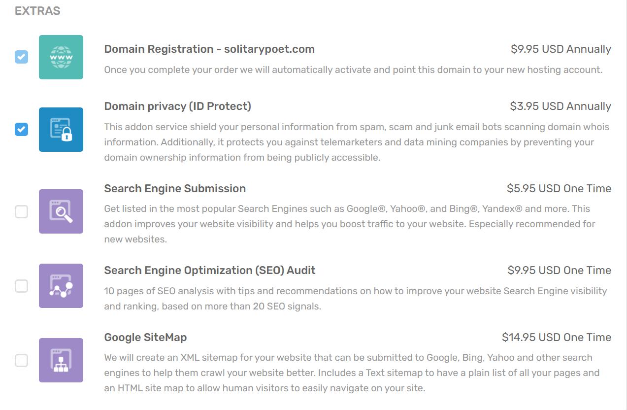 FastCloud Hosting Plans-Extras| FastComet