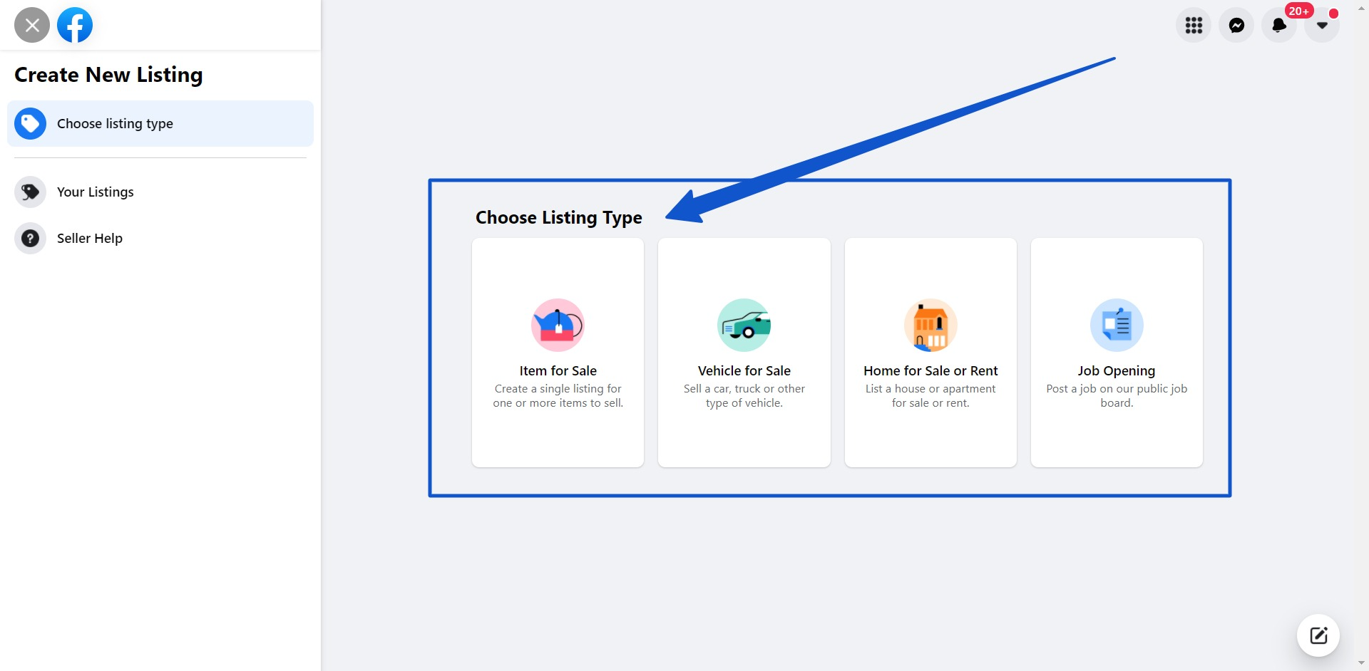 Choose the type of listing