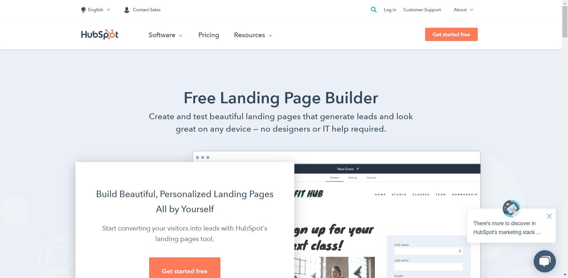 Best landing page builder - Hubspot