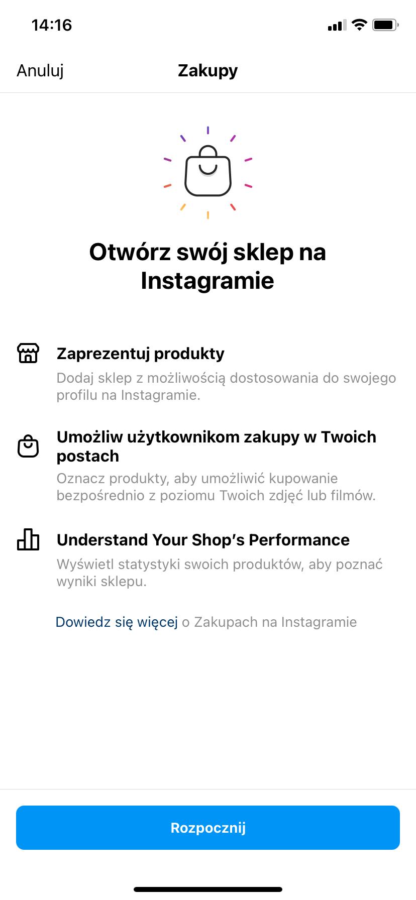 """Zgłaszanie konta do usługi """"zakupy na Instagramie"""""""