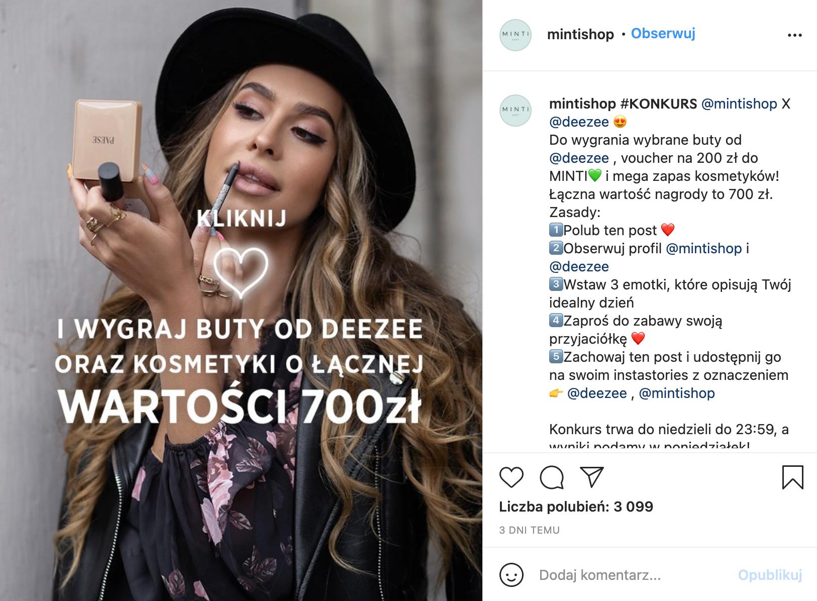 Przykład angażującego contentu na Instagramie